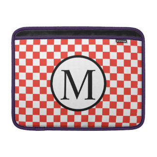 Simple Monogram with Red Checkerboard Sleeve For MacBook Air