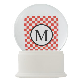 Simple Monogram with Red Checkerboard Snow Globes
