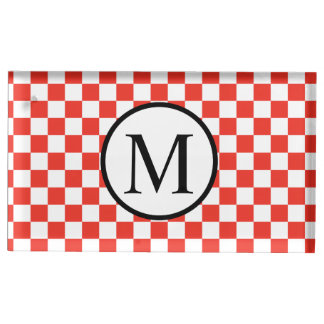 Simple Monogram with Red Checkerboard Table Card Holder