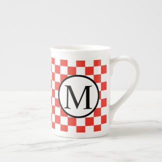 Simple Monogram with Red Checkerboard Tea Cup