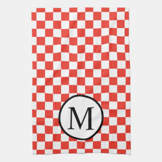 Simple Monogram with Red Checkerboard Tea Towel