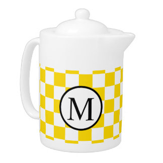 Simple Monogram with Yellow Checkerboard