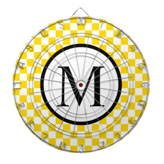Simple Monogram with Yellow Checkerboard Dartboard With Darts