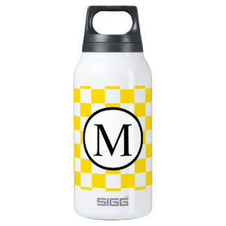 Simple Monogram with Yellow Checkerboard Insulated Water Bottle