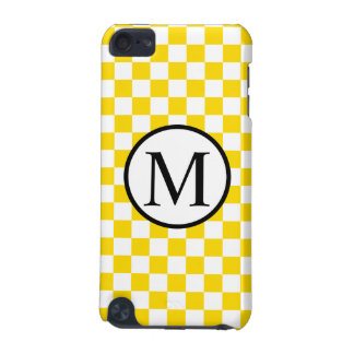 Simple Monogram with Yellow Checkerboard iPod Touch 5G Covers