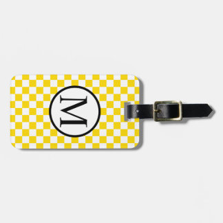 Simple Monogram with Yellow Checkerboard Luggage Tag