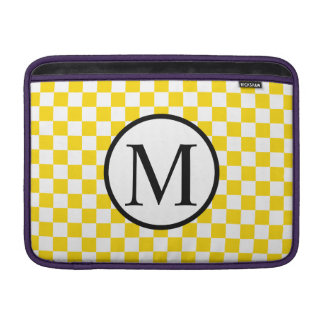 Simple Monogram with Yellow Checkerboard MacBook Sleeve