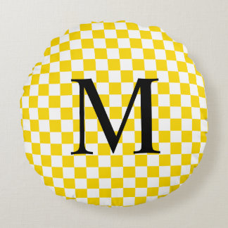 Simple Monogram with Yellow Checkerboard Pattern Round Cushion