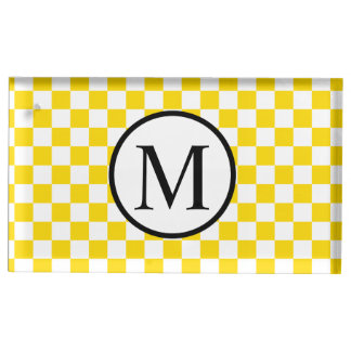 Simple Monogram with Yellow Checkerboard Place Card Holder