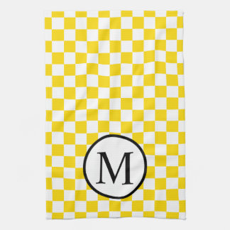 Simple Monogram with Yellow Checkerboard Tea Towel