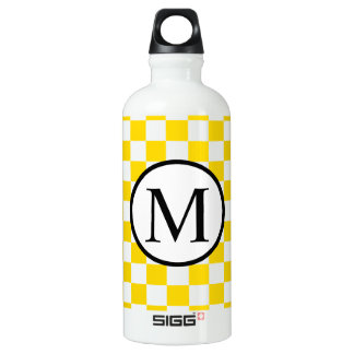 Simple Monogram with Yellow Checkerboard Water Bottle