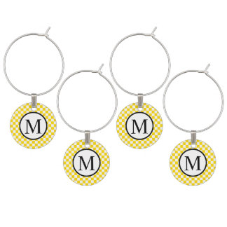 Simple Monogram with Yellow Checkerboard Wine Charm