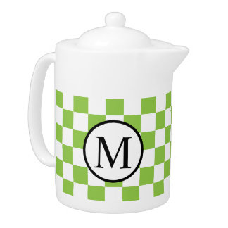 Simple Monogram with Yellow Green Checkerboard