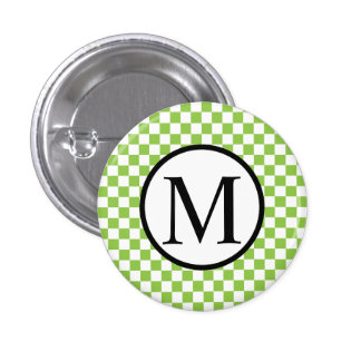 Simple Monogram with Yellow Green Checkerboard 3 Cm Round Badge