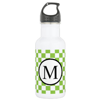 Simple Monogram with Yellow Green Checkerboard 532 Ml Water Bottle