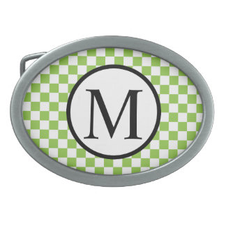 Simple Monogram with Yellow Green Checkerboard Belt Buckle