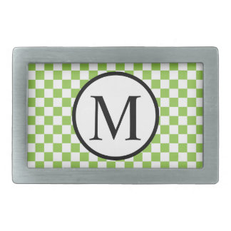 Simple Monogram with Yellow Green Checkerboard Belt Buckles