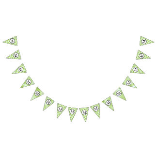 Simple Monogram with Yellow Green Checkerboard Bunting