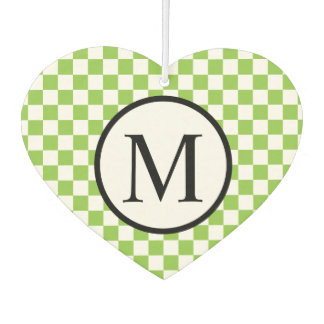 Simple Monogram with Yellow Green Checkerboard Car Air Freshener