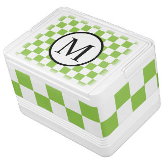 Simple Monogram with Yellow Green Checkerboard Cooler