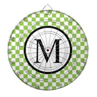 Simple Monogram with Yellow Green Checkerboard Dart Boards