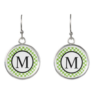 Simple Monogram with Yellow Green Checkerboard Earrings