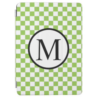Simple Monogram with Yellow Green Checkerboard iPad Air Cover