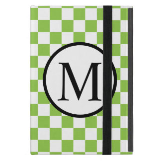 Simple Monogram with Yellow Green Checkerboard iPad Mini Cover