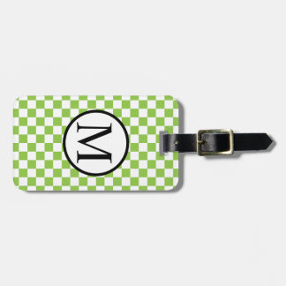 Simple Monogram with Yellow Green Checkerboard Luggage Tag