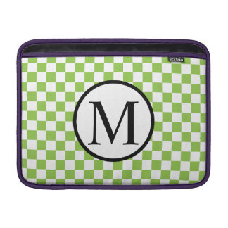Simple Monogram with Yellow Green Checkerboard MacBook Sleeve