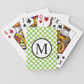Simple Monogram with Yellow Green Checkerboard Poker Deck