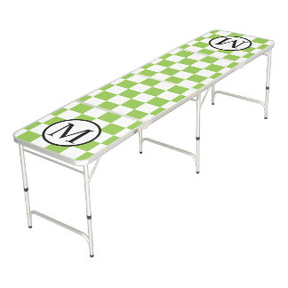 Simple Monogram with Yellow Green Checkerboard Pong Table