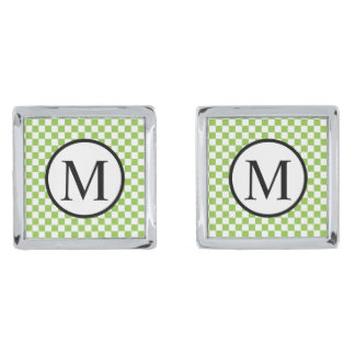 Simple Monogram with Yellow Green Checkerboard Silver Finish Cuff Links