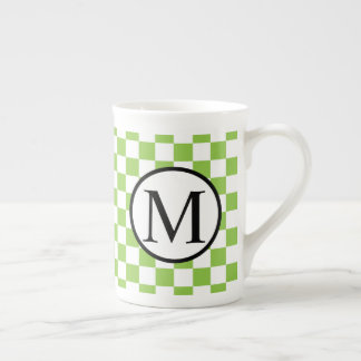 Simple Monogram with Yellow Green Checkerboard Tea Cup