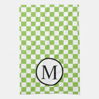 Simple Monogram with Yellow Green Checkerboard Tea Towel