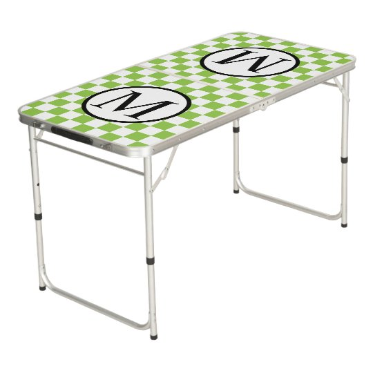 Simple Monogram with Yellow Green Chequerboard Beer Pong Table