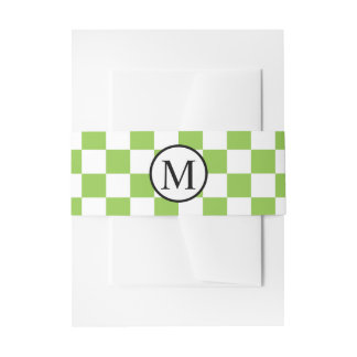 Simple Monogram with Yellow Green Chequerboard Invitation Belly Band