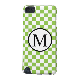 Simple Monogram with Yellow Green Chequerboard iPod Touch 5G Covers