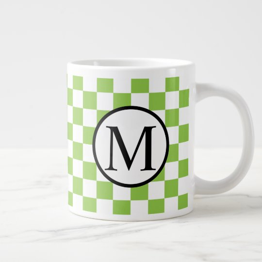 Simple Monogram with Yellow Green Chequerboard Large Coffee Mug