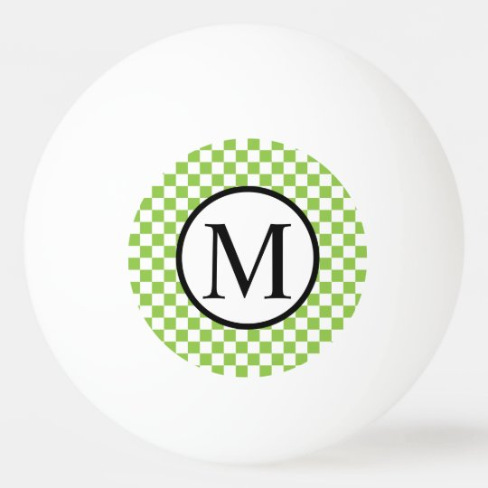 Simple Monogram with Yellow Green Chequerboard Ping Pong Ball