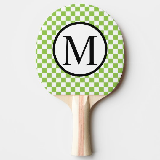 Simple Monogram with Yellow Green Chequerboard Ping Pong Paddle