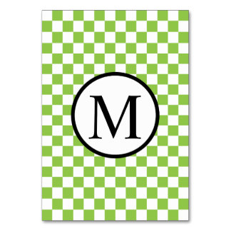 Simple Monogram with Yellow Green Chequerboard Table Cards