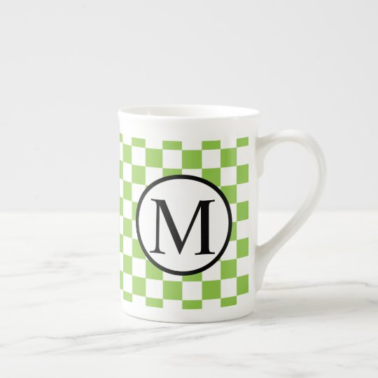 Simple Monogram with Yellow Green Chequerboard Tea Cup