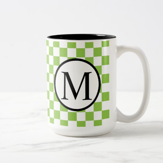 Simple Monogram with Yellow Green Chequerboard Two-Tone Coffee Mug