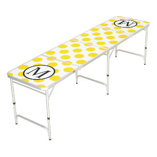 Simple Monogram with Yellow Polka Dots Beer Pong Table