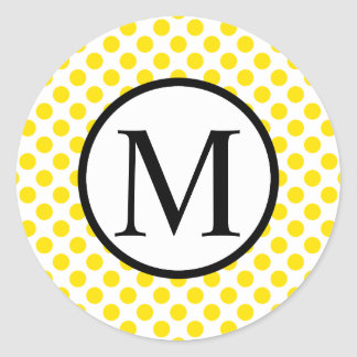 Simple Monogram with Yellow Polka Dots Classic Round Sticker