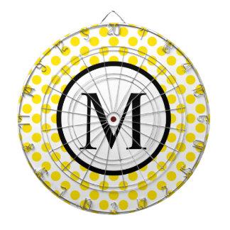 Simple Monogram with Yellow Polka Dots Dartboard