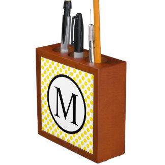 Simple Monogram with Yellow Polka Dots Desk Organiser