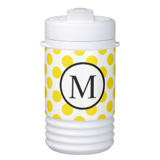 Simple Monogram with Yellow Polka Dots Drinks Cooler