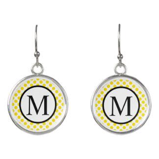 Simple Monogram with Yellow Polka Dots Earrings